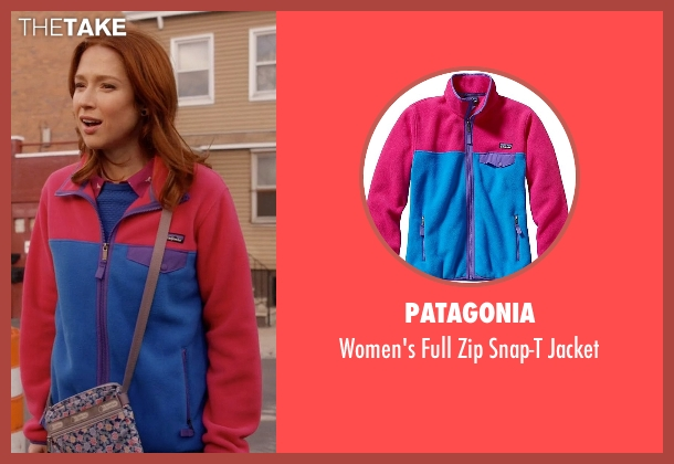 Patagonia pink jacket from Unbreakable Kimmy Schmidt seen with Kimmy Schmidt (Ellie Kemper)