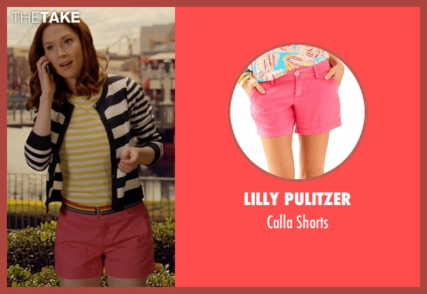Lilly Pulitzer pink shorts from Unbreakable Kimmy Schmidt seen with Kimmy Schmidt (Ellie Kemper)