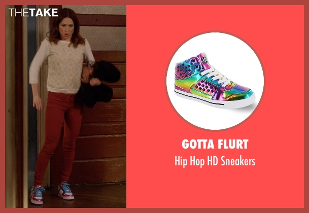 Gotta Flurt pink sneakers from Unbreakable Kimmy Schmidt seen with Kimmy Schmidt (Ellie Kemper)