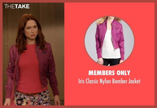 Members Only purple jacket from Unbreakable Kimmy Schmidt seen with Kimmy Schmidt (Ellie Kemper)