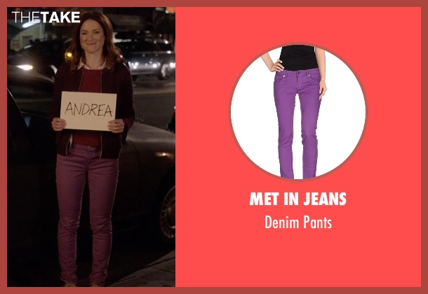 Met In Jeans purple pants from Unbreakable Kimmy Schmidt seen with Kimmy Schmidt (Ellie Kemper)