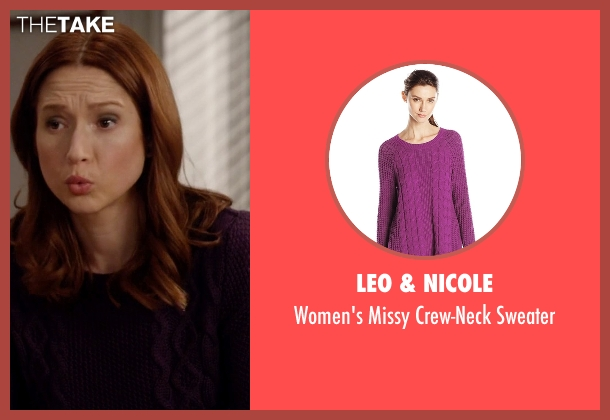 Leo & Nicole purple sweater from Unbreakable Kimmy Schmidt seen with Kimmy Schmidt (Ellie Kemper)