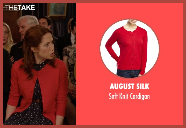 August Silk red cardigan from Unbreakable Kimmy Schmidt seen with Kimmy Schmidt (Ellie Kemper)