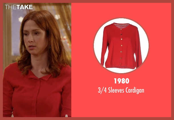 1980 red cardigan from Unbreakable Kimmy Schmidt seen with Kimmy Schmidt (Ellie Kemper)