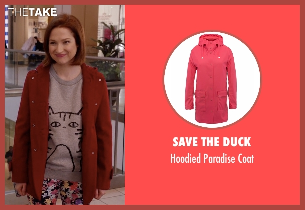 Save The Duck red coat from Unbreakable Kimmy Schmidt seen with Kimmy Schmidt (Ellie Kemper)