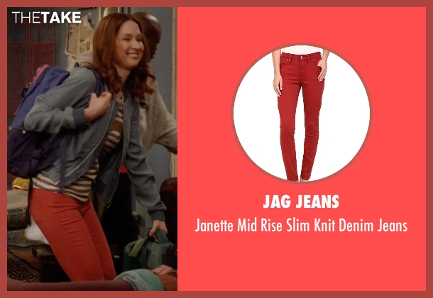 Jag Jeans red jeans from Unbreakable Kimmy Schmidt seen with Kimmy Schmidt (Ellie Kemper)