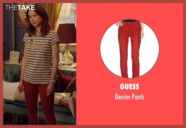 Guess red pants from Unbreakable Kimmy Schmidt seen with Kimmy Schmidt (Ellie Kemper)