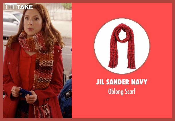 Jil Sander Navy red scarf from Unbreakable Kimmy Schmidt seen with Kimmy Schmidt (Ellie Kemper)