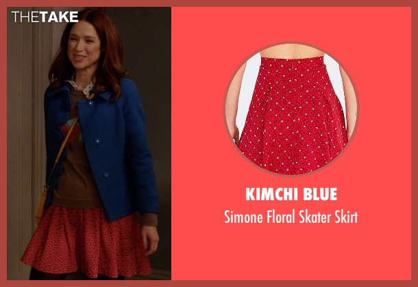 Kimchi Blue red skirt from Unbreakable Kimmy Schmidt seen with Kimmy Schmidt (Ellie Kemper)