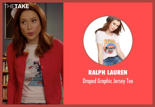 Ralph Lauren white tee from Unbreakable Kimmy Schmidt seen with Kimmy Schmidt (Ellie Kemper)