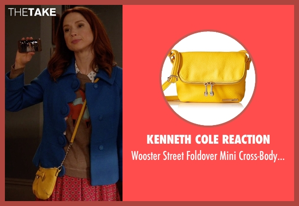 Kenneth Cole Reaction yellow bag from Unbreakable Kimmy Schmidt seen with Kimmy Schmidt (Ellie Kemper)