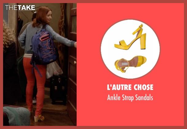 Swedish Hasbeens yellow sandals from Unbreakable Kimmy Schmidt seen with Kimmy Schmidt (Ellie Kemper)