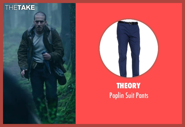 THEORY blue pants from Dawn of the Planet of the Apes seen with Kirk Acevedo (Carver)