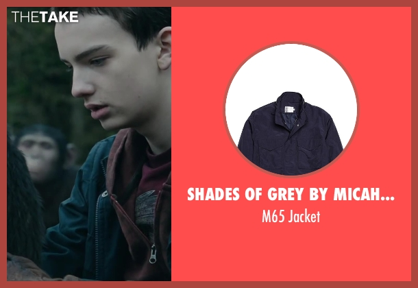 Shades of Grey by Micah Cohen blue jacket from Dawn of the Planet of the Apes seen with Kodi Smit-McPhee (Alexander)