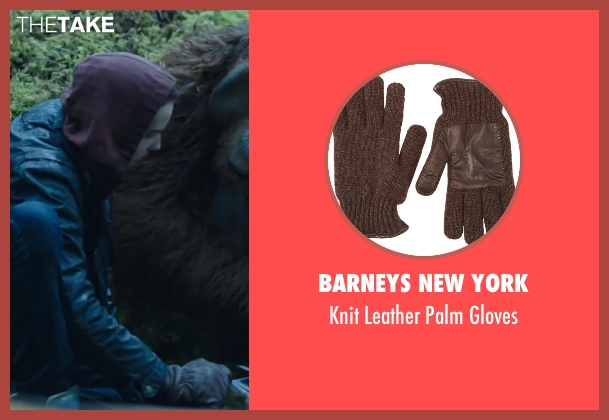 BARNEYS NEW YORK brown gloves from Dawn of the Planet of the Apes seen with Kodi Smit-McPhee (Alexander)