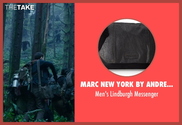 MARC NEW YORK by ANDREW MARC gray messenger from Dawn of the Planet of the Apes seen with Kodi Smit-McPhee (Alexander)