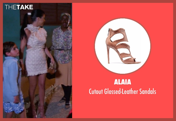Alaia beige sandals from Keeping Up With The Kardashians seen with Kourtney Kardashian