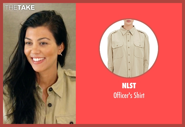 NLST beige shirt from Keeping Up With The Kardashians seen with Kourtney Kardashian