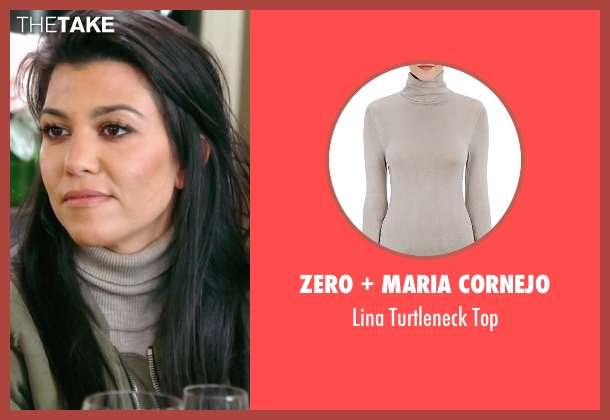 Zero + Maria Cornejo beige top from Keeping Up With The Kardashians seen with Kourtney Kardashian