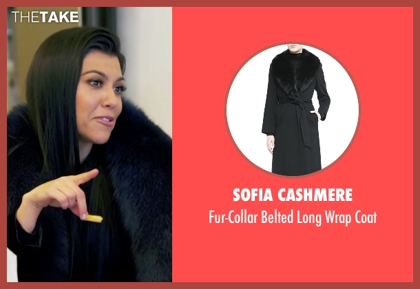 Sofia Cashmere black coat from Keeping Up With The Kardashians seen with Kourtney Kardashian
