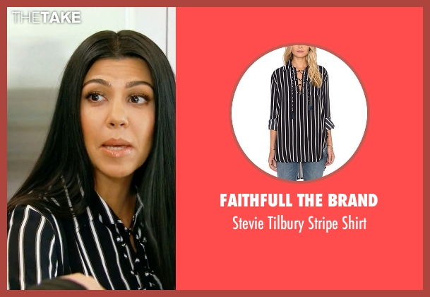 Faithfull The Brand black shirt from Keeping Up With The Kardashians seen with Kourtney Kardashian