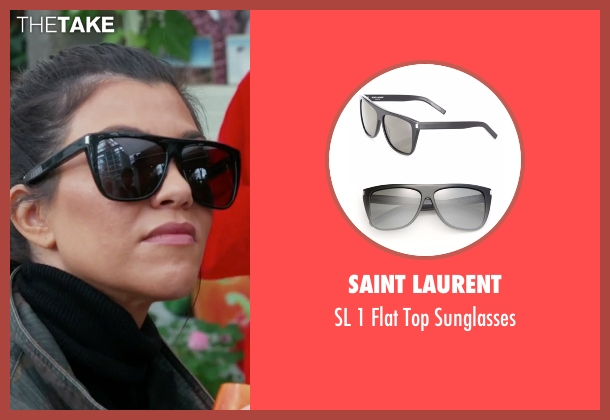 Saint Laurent black sunglasses from Keeping Up With The Kardashians seen with Kourtney Kardashian