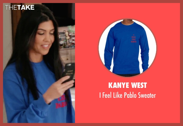 Kanye West blue sweater from Keeping Up With The Kardashians seen with Kourtney Kardashian