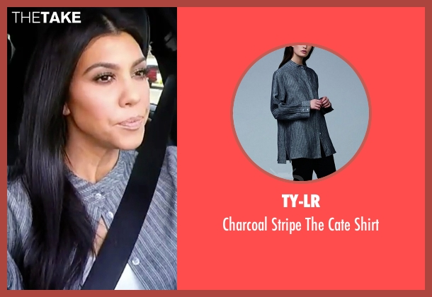 TY-LR gray shirt from Keeping Up With The Kardashians seen with Kourtney Kardashian