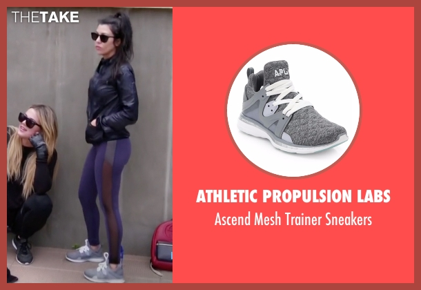 Athletic Propulsion Labs gray sneakers from Keeping Up With The Kardashians seen with Kourtney Kardashian