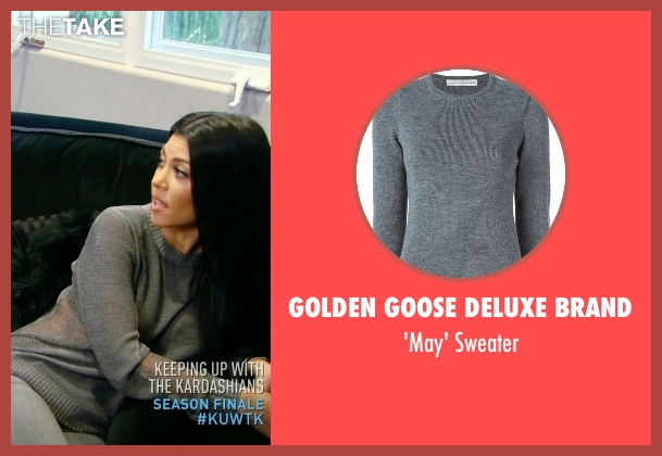 Golden Goose Deluxe Brand gray sweater from Keeping Up With The Kardashians seen with Kourtney Kardashian