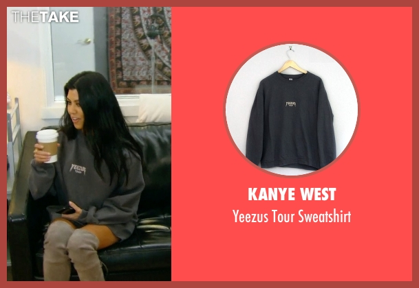 Kanye West gray sweatshirt from Keeping Up With The Kardashians seen with Kourtney Kardashian