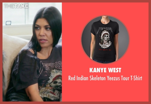 Kanye West gray t-shirt from Keeping Up With The Kardashians seen with Kourtney Kardashian