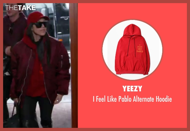 Yeezy red hoodie from Keeping Up With The Kardashians seen with Kourtney Kardashian