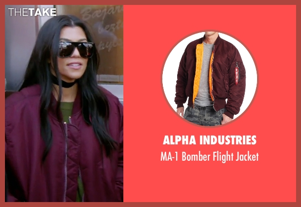 Alpha Industries red jacket from Keeping Up With The Kardashians seen with Kourtney Kardashian