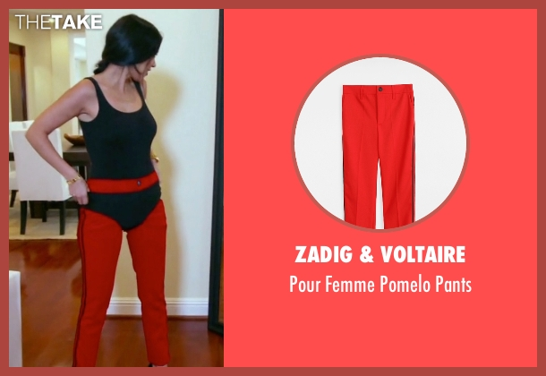 Zadig & Voltaire red pants from Keeping Up With The Kardashians seen with Kourtney Kardashian