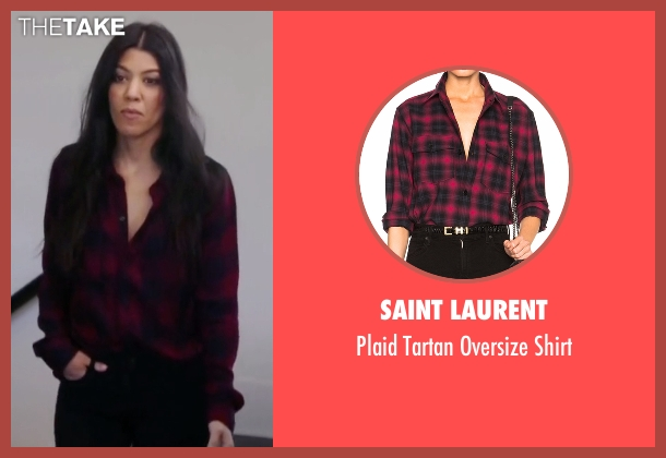 Saint Laurent red shirt from Keeping Up With The Kardashians seen with Kourtney Kardashian