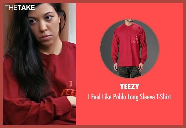 Yeezy red t-shirt from Keeping Up With The Kardashians seen with Kourtney Kardashian