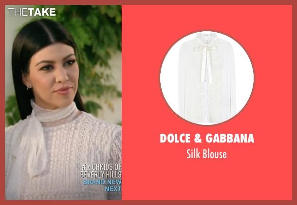 Dolce & Gabbana white blouse from Keeping Up With The Kardashians seen with Kourtney Kardashian