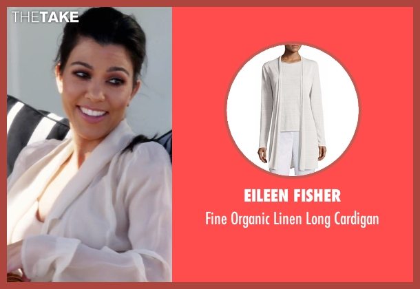 Eileen Fisher white cardigan from Keeping Up With The Kardashians seen with Kourtney Kardashian