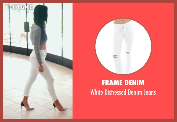Frame Denim white jeans from Keeping Up With The Kardashians seen with Kourtney Kardashian