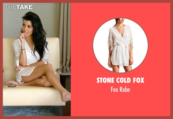 Stone Cold Fox white robe from Keeping Up With The Kardashians seen with Kourtney Kardashian
