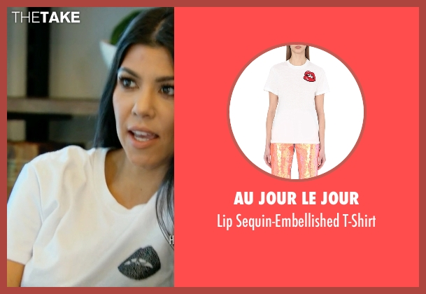 Au Jour Le Jour white t-shirt from Keeping Up With The Kardashians seen with Kourtney Kardashian