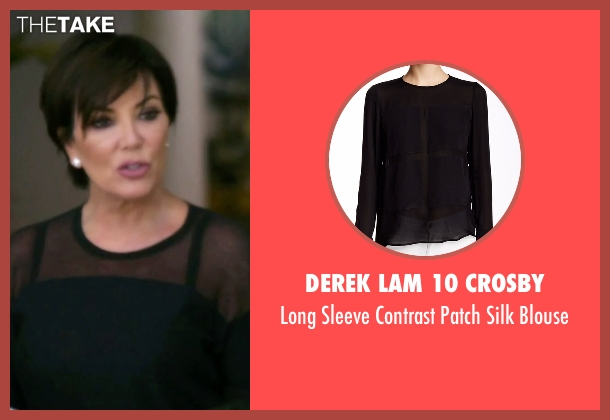 Derek Lam 10 Crosby black blouse from Keeping Up With The Kardashians seen with Kris Jenner