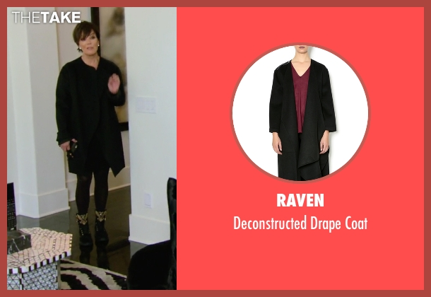 Raven black coat from Keeping Up With The Kardashians seen with Kris Jenner