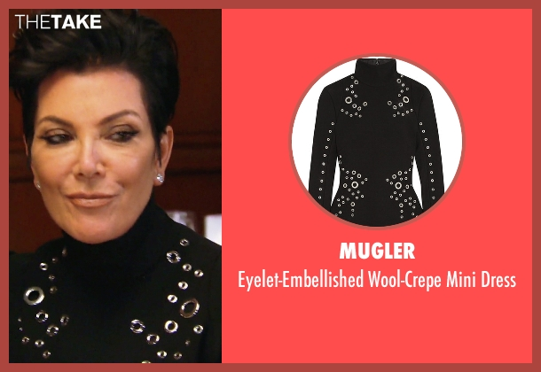 Mugler black dress from Keeping Up With The Kardashians seen with Kris Jenner