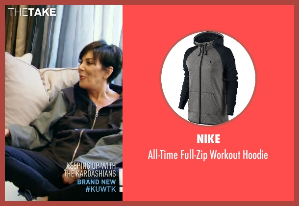 Nike black hoodie from Keeping Up With The Kardashians seen with Kris Jenner