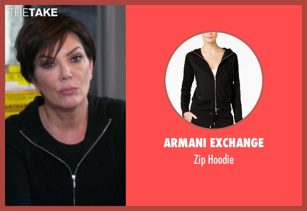 Armani Exchange black hoodie from Keeping Up With The Kardashians seen with Kris Jenner