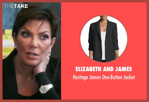 Elizabeth and James black jacket from Keeping Up With The Kardashians seen with Kris Jenner