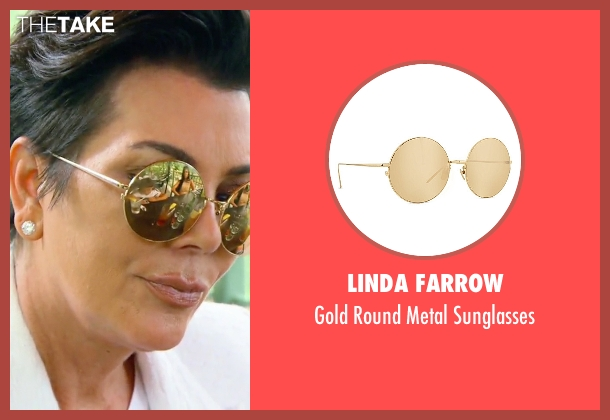 Linda Farrow gold sunglasses from Keeping Up With The Kardashians seen with Kris Jenner