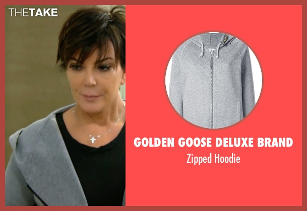 Golden Goose Deluxe Brand gray hoodie from Keeping Up With The Kardashians seen with Kris Jenner
